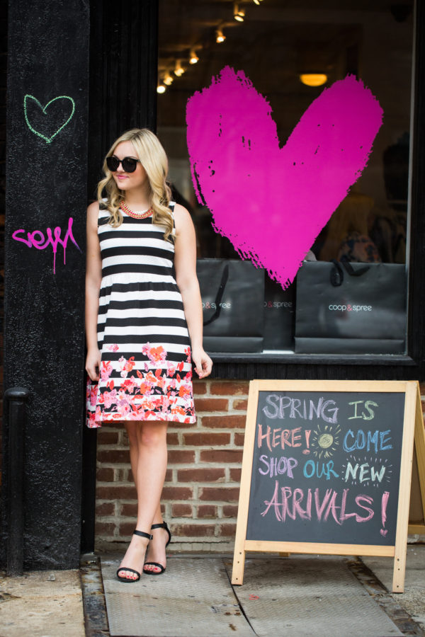 Bows & Sequins wearing a striped dress in Nolita NYC.