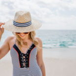 One-Piece Striped Swimsuit in Cabo