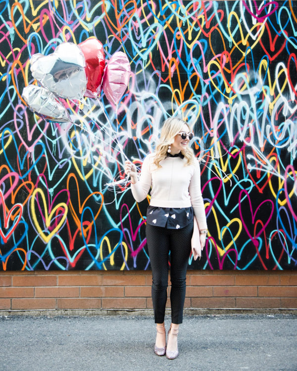 Bows & Sequins in front of the Bleeding Hearts mural in Chicago.