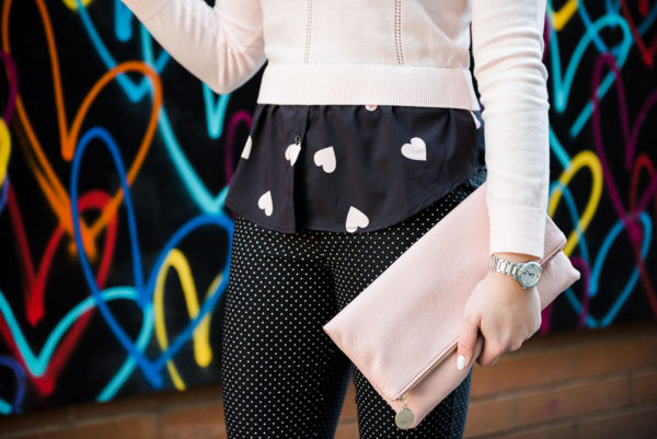 Bows & Sequins print mixing with a heart print shirt and polka dot pants.