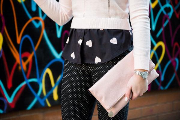 Bows & Sequins print mixing with a heart print shirt and polka dot pants.