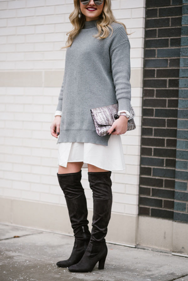 Bows & Sequins styling over the knee boots with a sweater dress for winter.