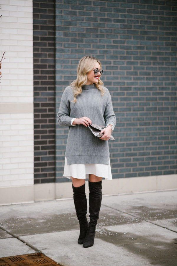 Bows & Sequins styling a sweater dress for winter weather.