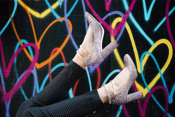 Bows & Sequins wearing Kate Spade glitter pumps.