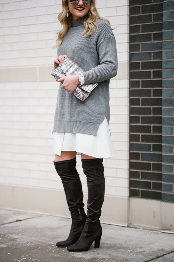 Bows & Sequins styling a monochromatic white and grey outfit.