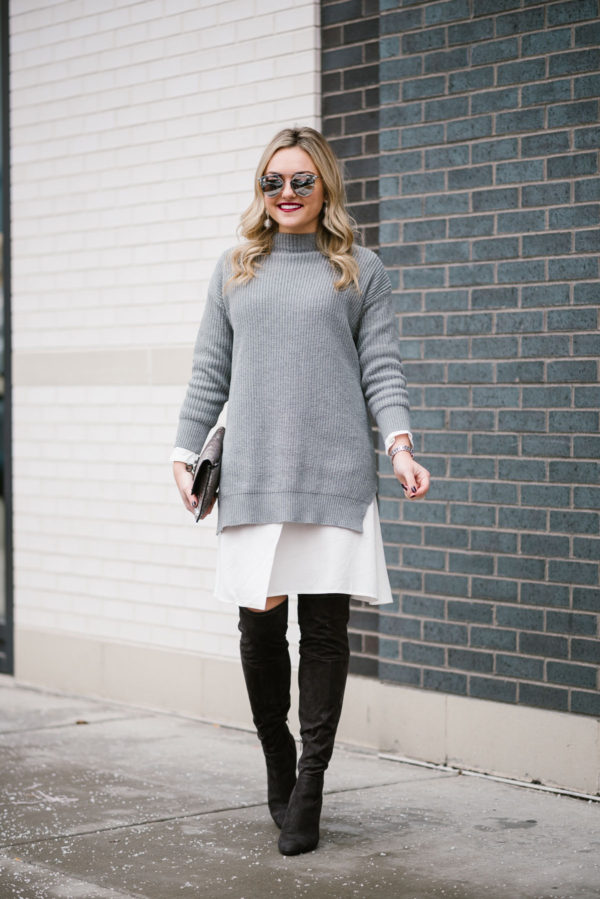Bows & Sequins styling an outfit for winter weather: Long Sleeved Sweater Dress + Over the Knee Boots