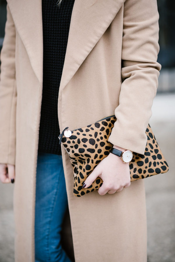 Bows & Sequins styling a leopard Clare V clutch.