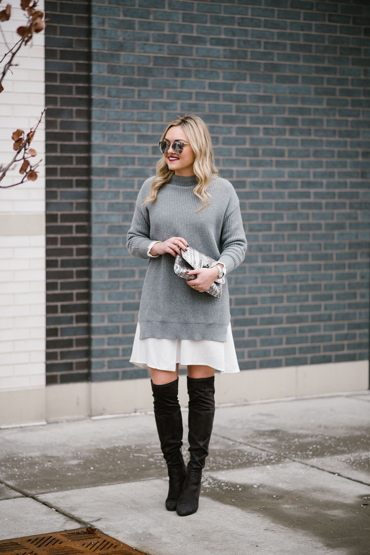 62088e5aebf Bows   Sequins wearing a layered sweater dress with grey suede over the  knee boots.