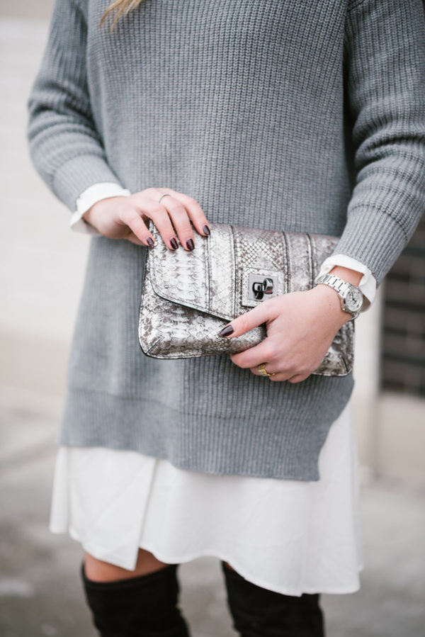 Bows & Sequins using a metallic silver clutch by Milly.