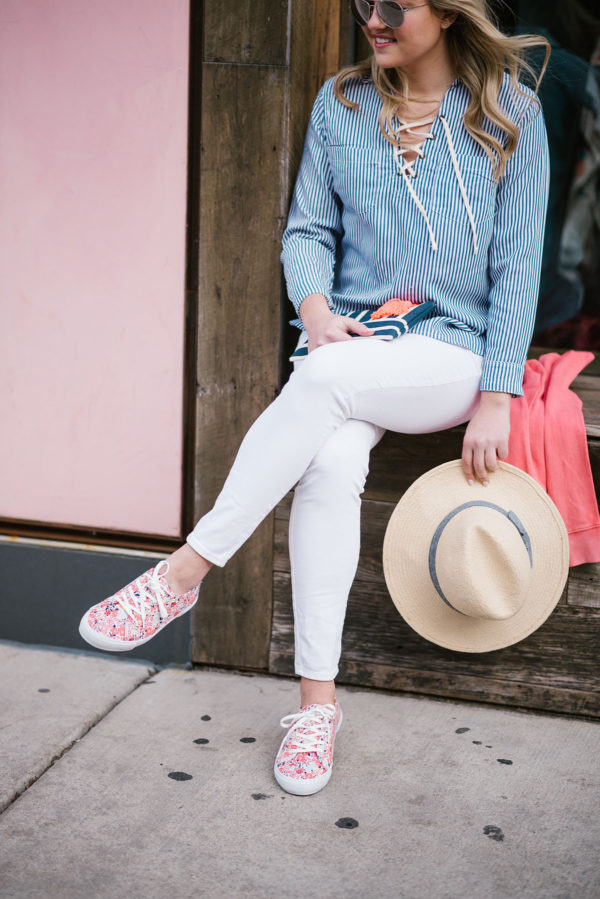 Bows & Sequins styling white denim for spring.