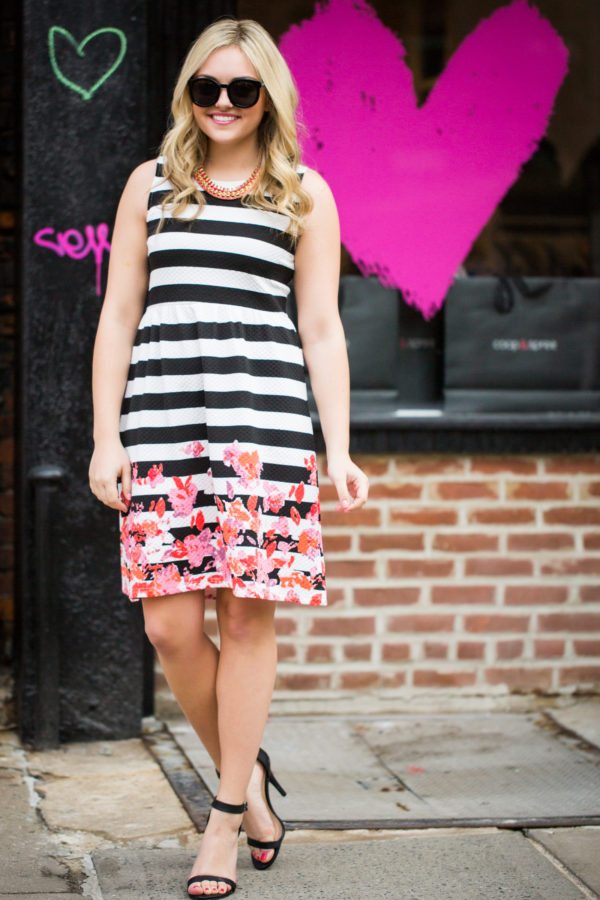 Bows & Sequins wearing a mixed print dress in New York.