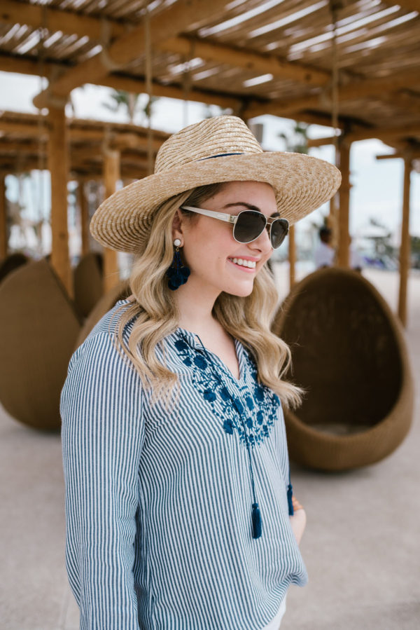 Bows & Sequins wearing a woven Hat Attack x Lemon Stripes summer hat with Coach sunglasses and a blue and white embroidered Old Navy top.