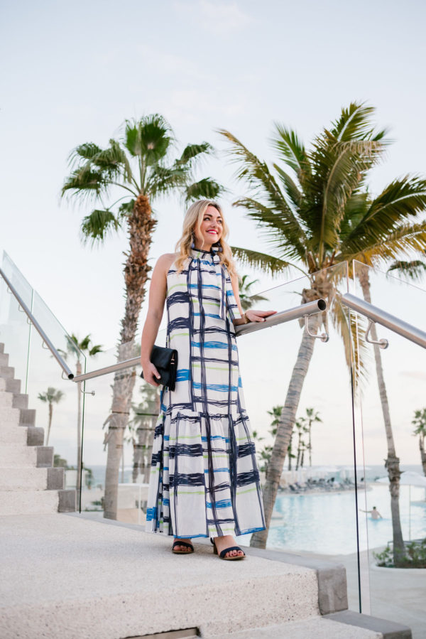 Bows & Sequins wearing a Vineyard Vines maxi dress in Cabo San Lucas.