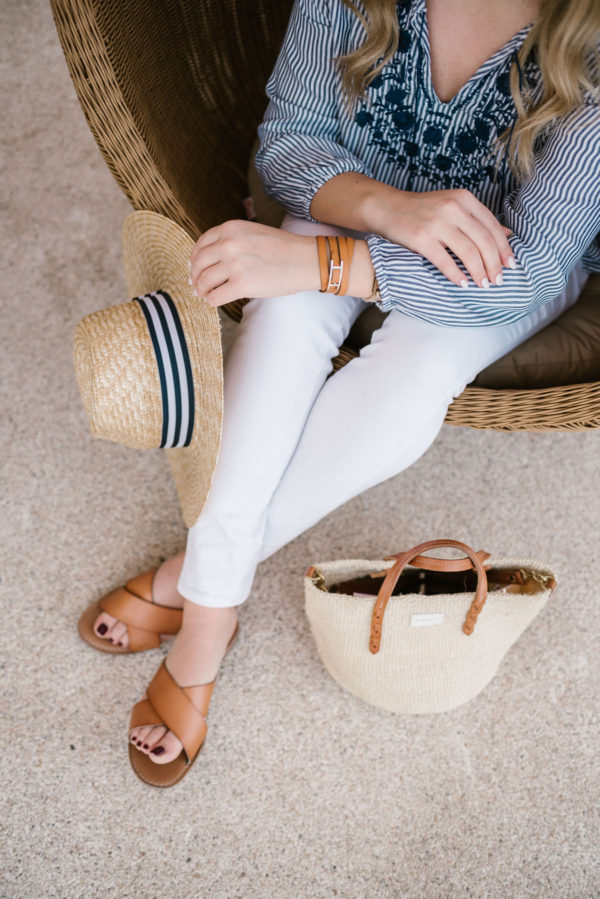 Bows & Sequins styling white Old Navy Jeans with a Clare V Mini straw bag and Old Navy sandals on the beach in Cabo.