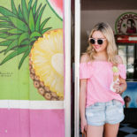 Off-the-Shoulder Shirt + Jean Shorts