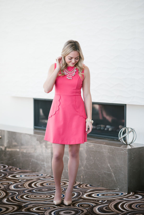 Bows & Sequins wearing a Maison Jules Dress with a Kate Spade necklace and shoes.