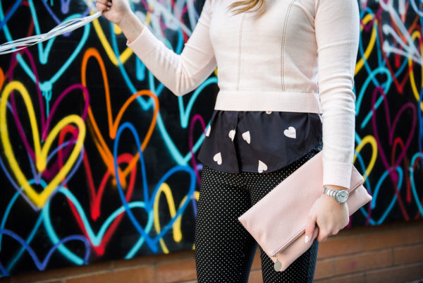 Bows & Sequins wearing blush pink and black together.