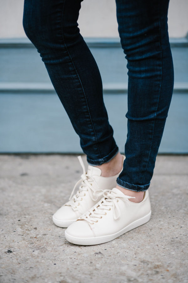 Bows & Sequins styling leather sneakers by Sezane.
