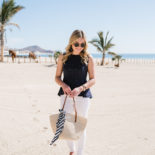 Blue Peplum + White Jeans in Cabo