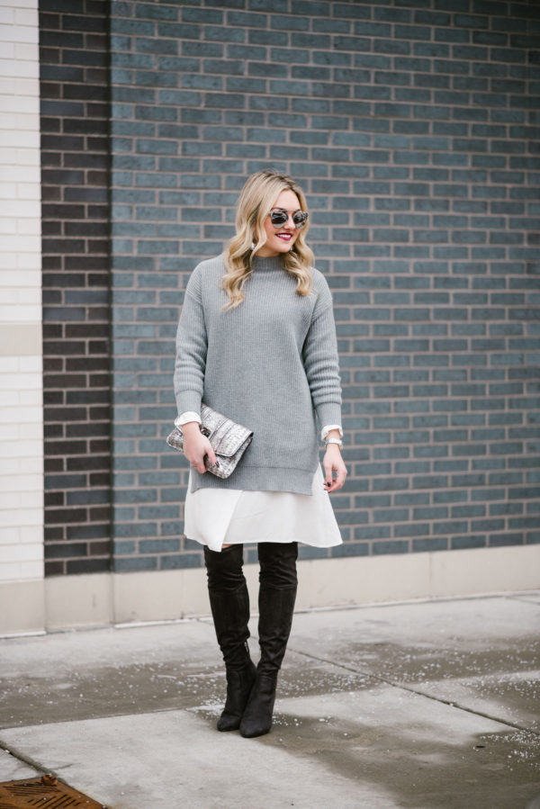 Bows & Sequins wearing a sweater dress and over the knee boots.