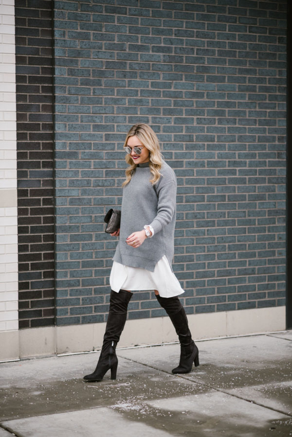 Bows & Sequins styling suede over the knee boots with a layered sweater dress.