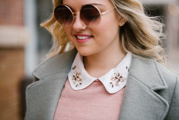 Bows & Sequins styling pink sweater with jewel collar.