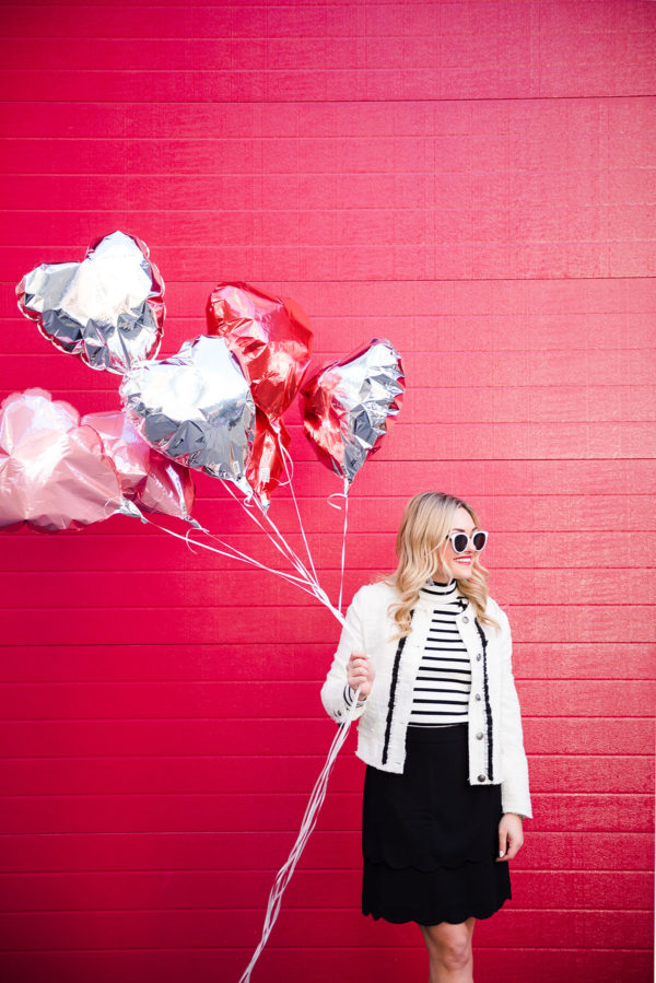 Bows & Sequins styling a photoshoot with balloons.