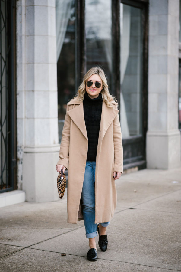 Bows & Sequins styling a long camel coat.
