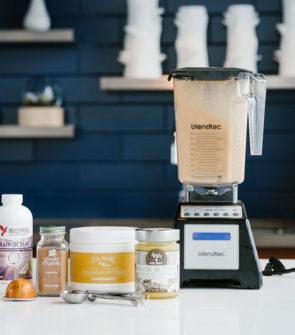 Lifestyle blogger Bows & Sequins shares her Bulletproof Coffee recipe with Brain Octane Oil, Vital Proteins Collagen Peptides, and 4th & Heart Ghee Butter in a Blendtec Blender.