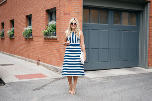Bows & Sequins styling a striped dress for a summer soiree.