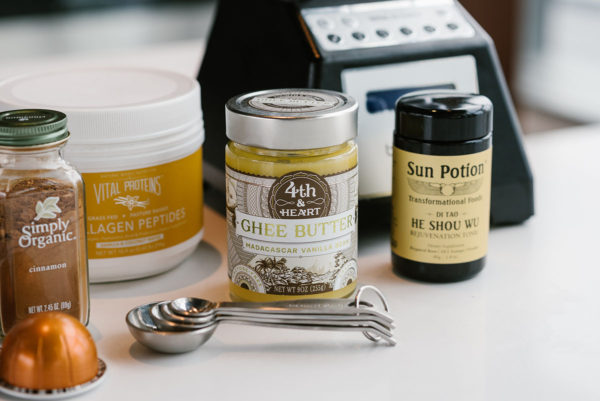 Bows & Sequins shares a recipe for Bulletproof Coffee with Vital Proteins Collagen Peptides, 4th & Heart Vanilla Ghee Butter, and Sun Potion He Shou Wu.