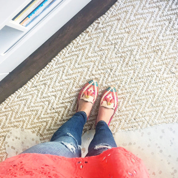 Bows & Sequins wearing a pair of colorful woven loafers with a tassel that she bought on her travels in San Jose del Cabo, Mexico.