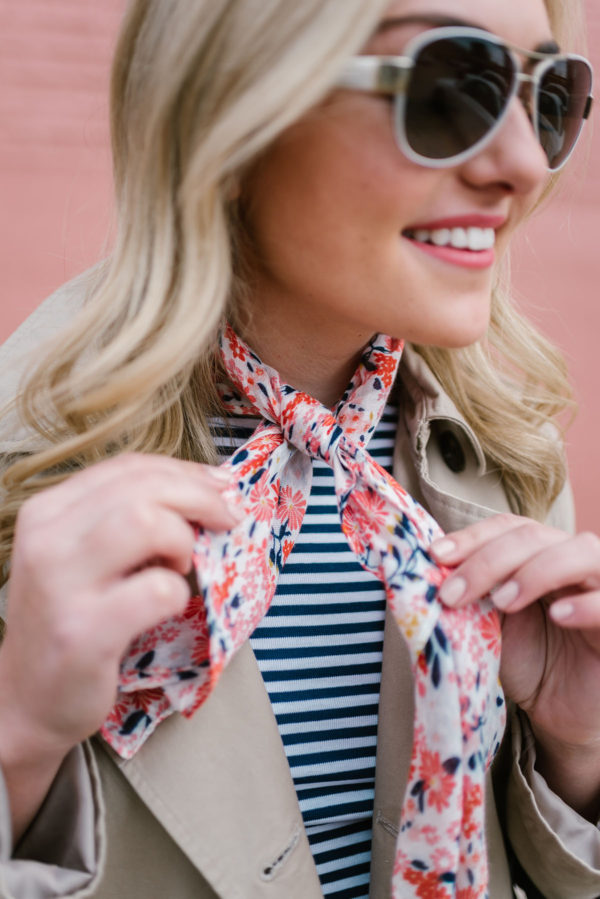 Bows & Sequins shows how to tie a neckerchief scarf.