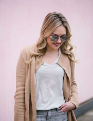 Fashion blogger Bows & Sequins wearing a cashmere Equipment sweater and a camel Old Navy cardigan.
