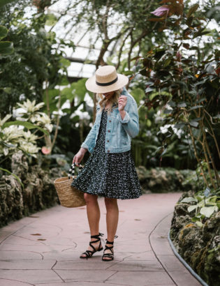 Bows & Sequins styling an Old Navy sundress with a Janessa Leone hat in Chicago.