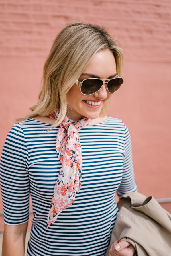 Fashion blogger Jessica Sturdy wearing a blue striped ballet tee with a floral scarf.