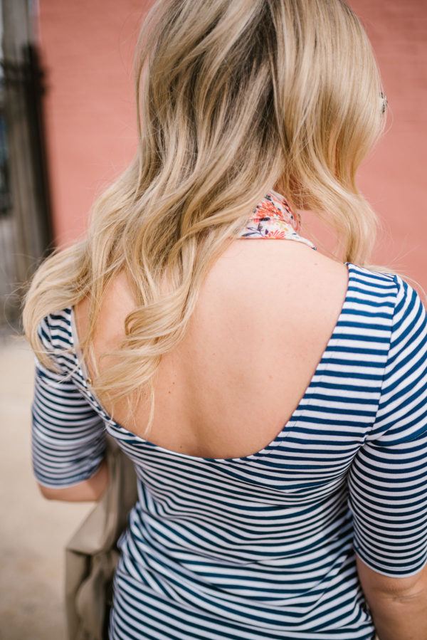 Bows & Sequins wearing a scoop back striped ballet tee from Old Navy.