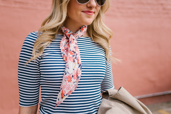 Bows & Sequins wearing a blue striped Old Navy tee with a floral neckerchief.