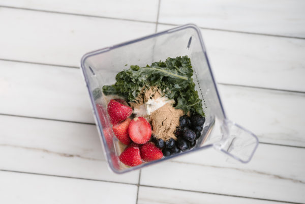Bows & Sequins Smoothie Recipe: Kale, Strawberries, Blueberries, Almond Butter, Almond Milk