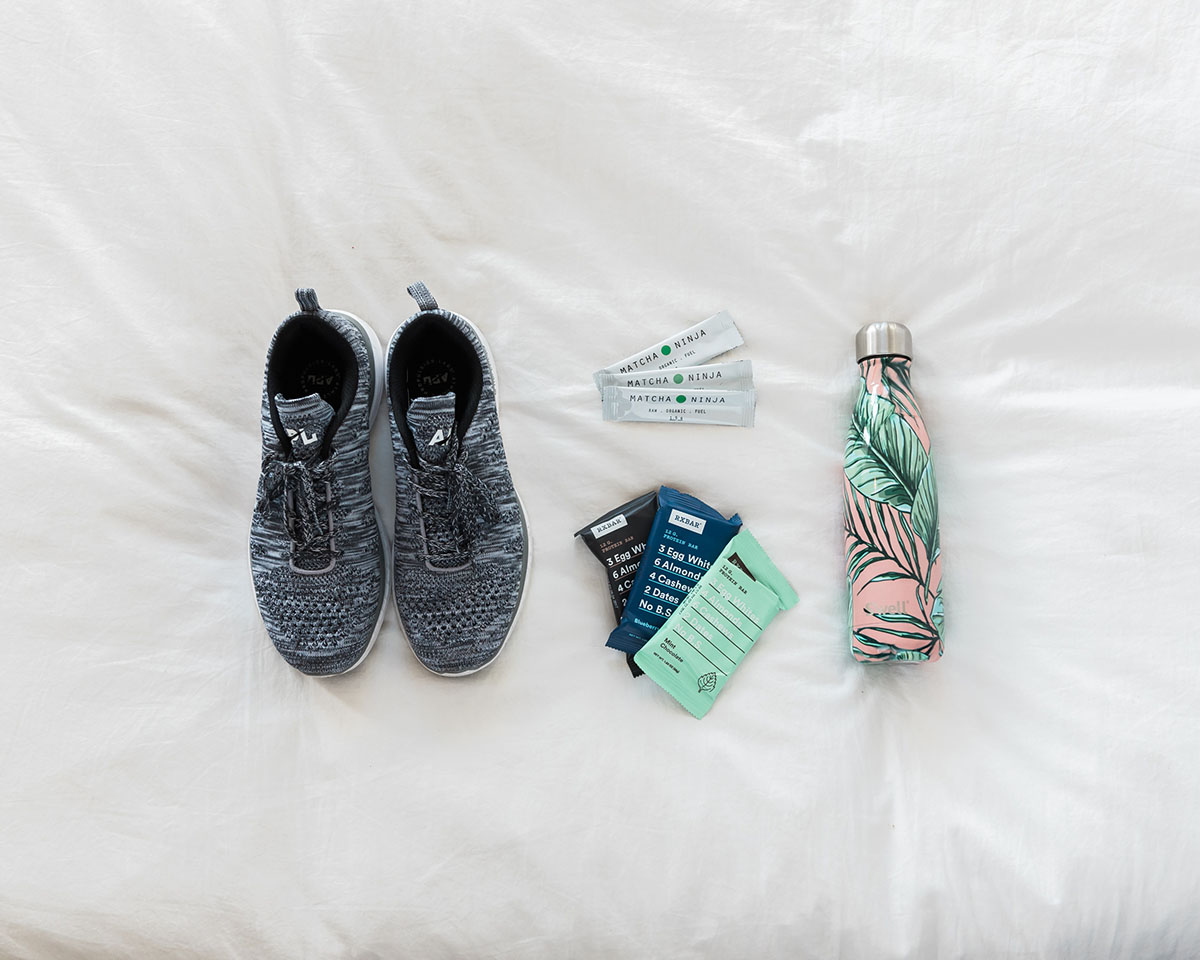 APL Sneakers, RX bars, Matcha Ninja packets, Swell Leaf Water Bottle
