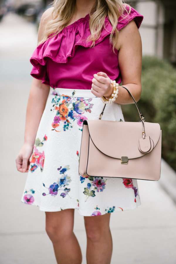 Bows & Sequins with a blush pink Cuyana satchel and a spring floral skirt.