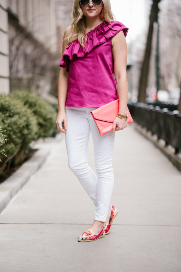 Bows & Sequins styling leather loafers from Mexico with a fuchsia Devlin top and white jeans for spring.