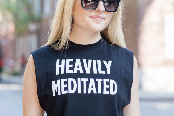 Bows & Sequins wearing a Heavily Meditated tank.