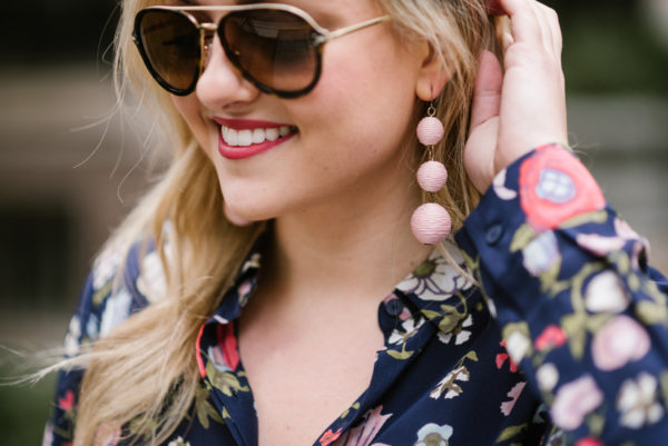 Bows & Sequins wearing tortoise Celine sunglasses and pink Crispin drop earrings from Baublebar with Bobbi Brown lipstick in Vintage Pink.