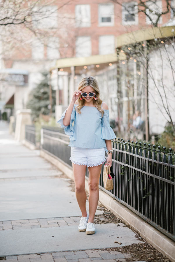 Chicago fashion blogger Bows & Sequins wearing a Kensie off-the-shoulder chambray top and eyelet shorts with Marc Fisher espadrille shoes.