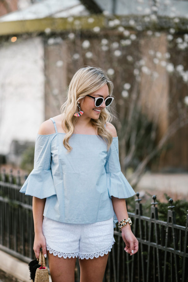 Jessica of Bows & Sequins wearing a cold shoulder chambray top with Nordstrom sunglasses and a Lele Sadoughi bracelet in Chicago.