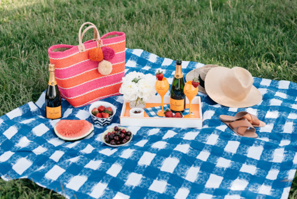 Bows & Sequins hosting a summer picnic along Lake Michigan with a Crate & Barrel blue gingham blanket, Veuve Clicquot champagne flutes, and an orange lacquer tray.