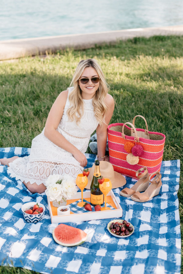 Bows & Sequins hosting a summer picnic with a Crate & Barrel blue gingham blanket, Veuve Clicquot champagne flutes, and an orange lacquer tray.