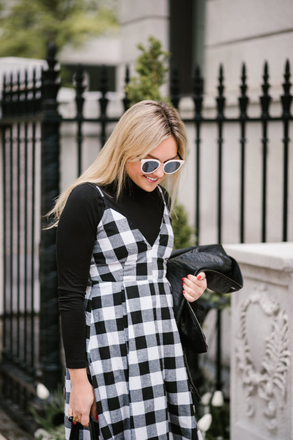 Jessica of Bows & Sequins styling a Modcloth gingham dress with a J.Crew tissue turtleneck and black & white Nordstrom sunglasses.
