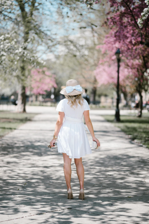 Bows & Sequins styling a little white dress for the Derby.